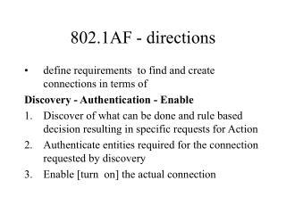 802.1AF - directions