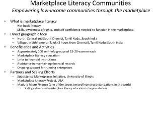 Marketplace Literacy Communities  Empowering low-income communities through the marketplace