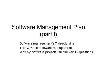 Software Management Plan part I
