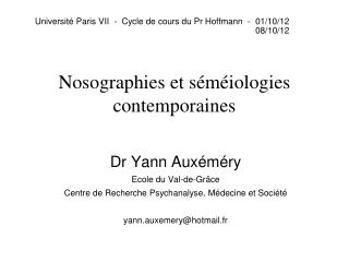 Nosographies et séméiologies contemporaines