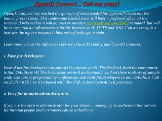 OpenID Connect… Call me crazy!