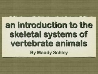 an introduction to the skeletal systems of vertebrate animals