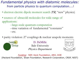 Fundamental physics with diatomic molecules: from particle physics to quantum computation....!