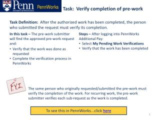 Task:  Verify completion of pre-work
