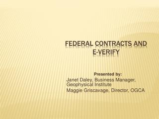 Federal Contracts and  E-Verify