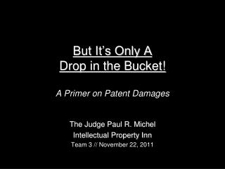 But It's Only A  Drop in the Bucket! A Primer on Patent Damages