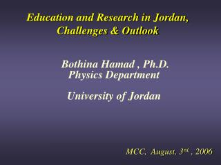 Education and Research in Jordan, Challenges & Outlook