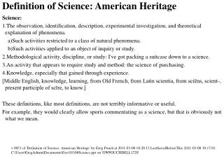Definition of Science: American Heritage