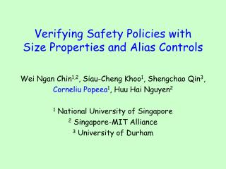 Verifying Safety Policies with  Size Properties and Alias Controls