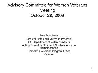 Advisory Committee for Women Veterans Meeting October 28, 2009