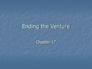 Ending the Venture