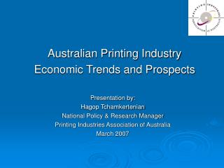 Australian Printing Industry  Economic Trends and Prospects