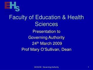 Faculty of Education  Health Sciences