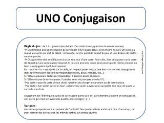 UNO Conjugaison