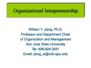 Organizational Intrapreneurship