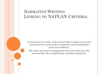 Narrative Writing Linking to NAPLAN Criteria.