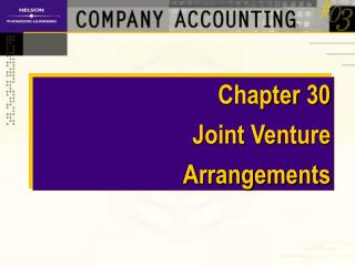 Chapter 30 Joint Venture  Arrangements