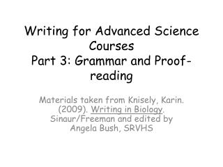 Writing for Advanced Science Courses Part 3: Grammar and Proof-reading