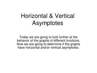 Horizontal & Vertical Asymptotes