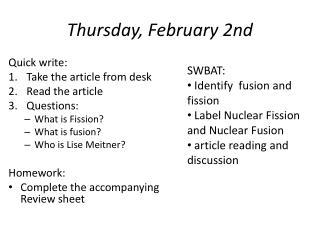 Thursday, February 2nd