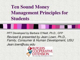 Ten Sound Money Management Principles for Students