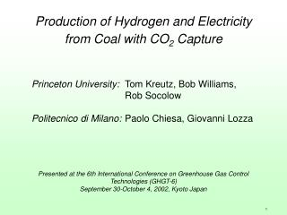 Production of Hydrogen and Electricity from Coal with CO 2  Capture