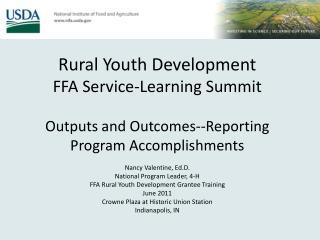 Rural Youth Development FFA Service-Learning Summit