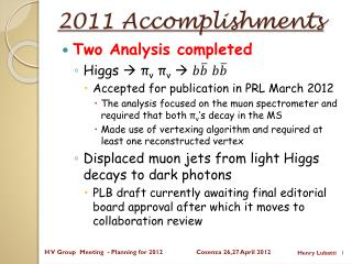2011 Accomplishments