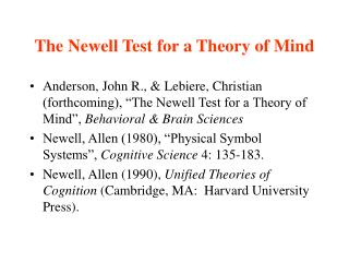 The Newell Test for a Theory of Mind