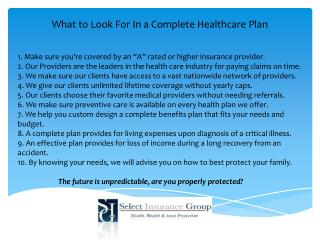 What to Look For In a Complete Healthcare Plan