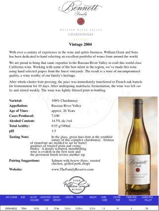Varietal: 100% Chardonnay  Appellation: Russian River Valley