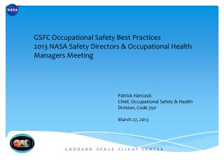 GSFC Occupational Safety Best Practices