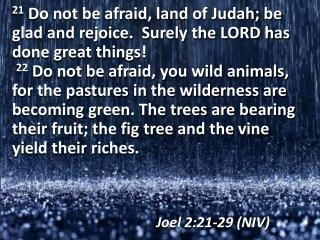 Joel 2:21-29 (NIV)