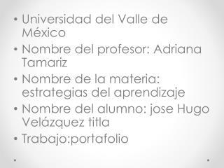 Universidad del Valle de México Nombre del profesor: Adriana Tamariz