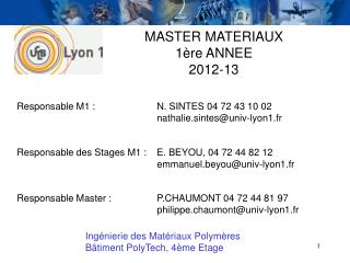 MASTER MATERIAUX 1ère ANNEE 2012-13