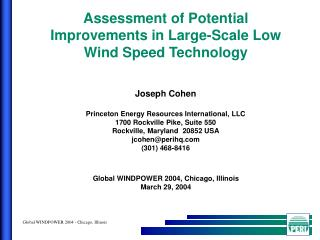 Assessment of Potential Improvements in Large-Scale Low Wind Speed Technology