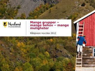 Mange grupper – mange behov – mange muligheter Rådgivere nov/ des  2012 Dato