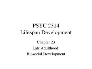 PSYC 2314 Lifespan Development