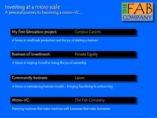 Investing at a micro scale A personal journey to becoming a micro-VC…