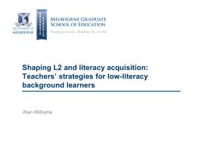 Shaping L2 and literacy acquisition: Teachers' strategies for low-literacy background learners