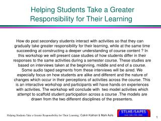 Helping Students Take a Greater Responsibility for Their Learning