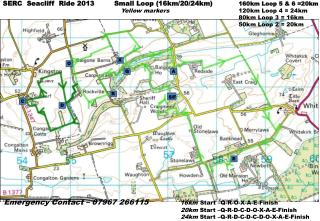 SERC  Seacliff   Ride 2013         Small Loop ( 16km/20/24km ) 160km  Loop 5 & 6 =20km