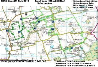 SERC  Seacliff   Ride 2013         Small Loop ( 16km/20/24km ) 160km  Loop 5 & 6 =20km