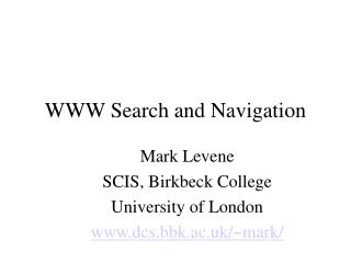 WWW Search and Navigation