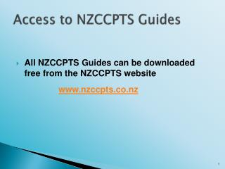 Access to NZCCPTS Guides