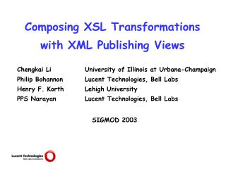 Composing XSL Transformations with XML Publishing Views