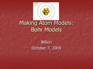 Making Atom Models: Bohr Models