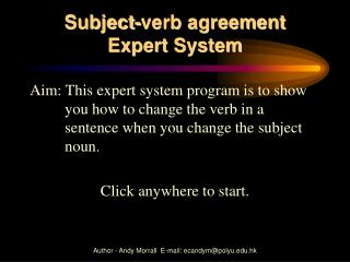 Subject-verb agreement  Expert System