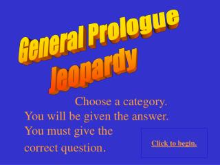 General Prologue Jeopardy