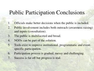 Public Participation Conclusions